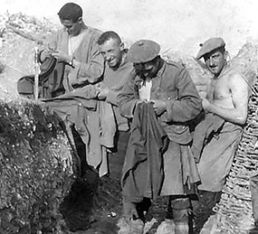 Jocks of Auchterarder Company picking lice out of their clothing