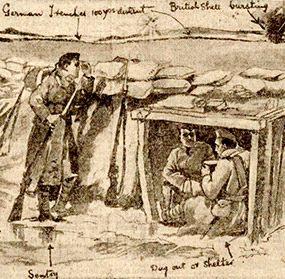 A sketch by Joseph Lee depicting life in the trenches.