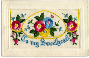 Hand embroidered Sweetheart postcard