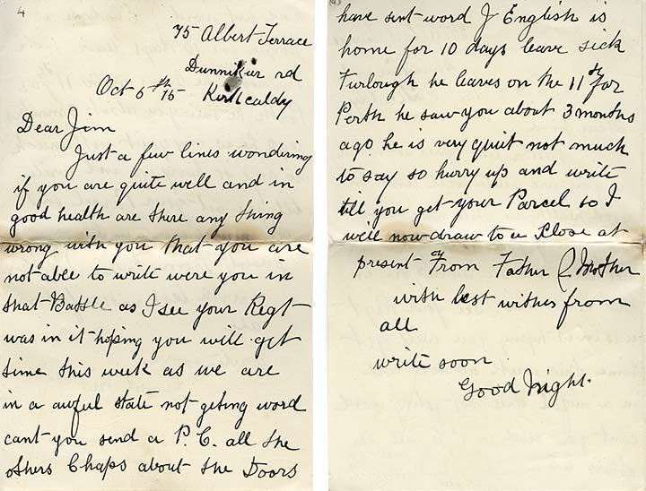 Letter from Braid's parents,- 6-Oct-1915