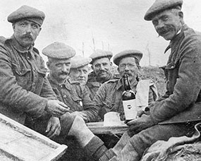 Men of the 6th (Perthshire) Battalion enjoying a bottle of wine.