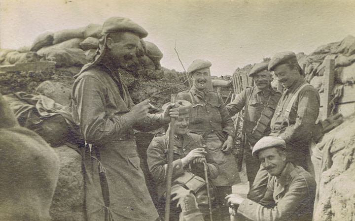 A 'relaxed' moment in the trench for men of the Black Watch, 1915.