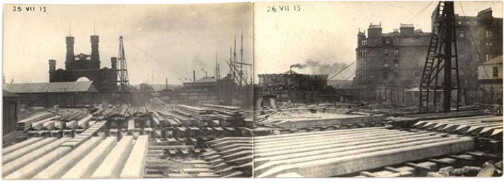 Early construction work of the Caird Hall in 1914