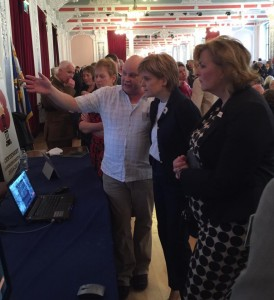 Iain Donald demonstrating Loo: The Fallen Fourth to Nicola Sturgeon, First Minister of Scotland,and Fiona Hyslop, Cabinet Secretary for Culture, at Remembering Loos, 25th September 2015.