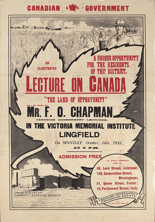 Poster advertising a lecture on October 14, 1912 to encourage British emigration to Canada. Source: Library and Archives Canada