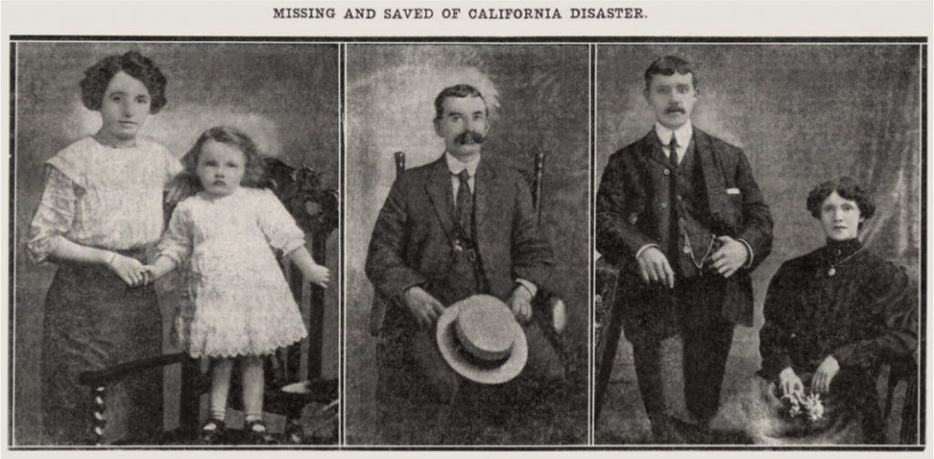 Left: Alice Smith and her four-year-old daughter Edna, both lost their lives. Centre: Mr James Anderson who was saved. Right: Jane Kidd, who lost her life, pictured here with her husband, Robert, Serving in the Canadian forces at the time.