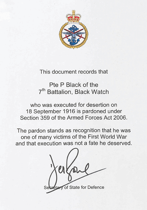 Pte Peter Black's pardon. Click on the image to enlarge.